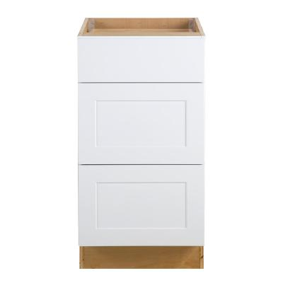 Cambridge Shaker Assembled 18x34.5x24 in. Base Cabinet with 3-Soft Close Drawers in White