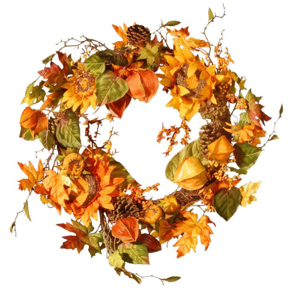 Harvest Accessories 25 in. Artificial Sunflower Wreath
