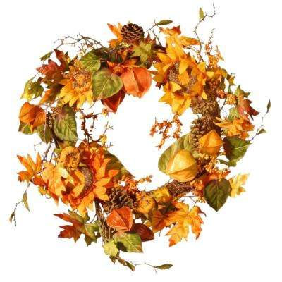 Harvest Accessories 25 in. Artificial Sunflower Wreath