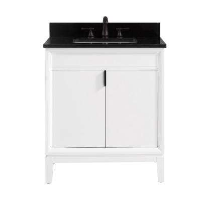 Emma 31 in. W x 22 in. D x 35 in. H Bath Vanity in White with Granite Vanity Top in Black with White with Basin