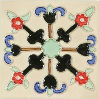 Hand-Painted Ceramic Lanzas 6 in. x 6 in. x 6.35 mm Glazed Ceramic Wall Tile (2.5 sq. ft. / case)