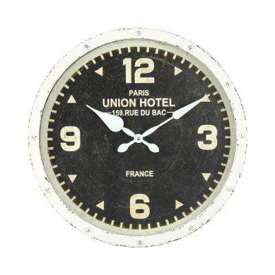Hands of Steel Black/White Analog Wall Clock
