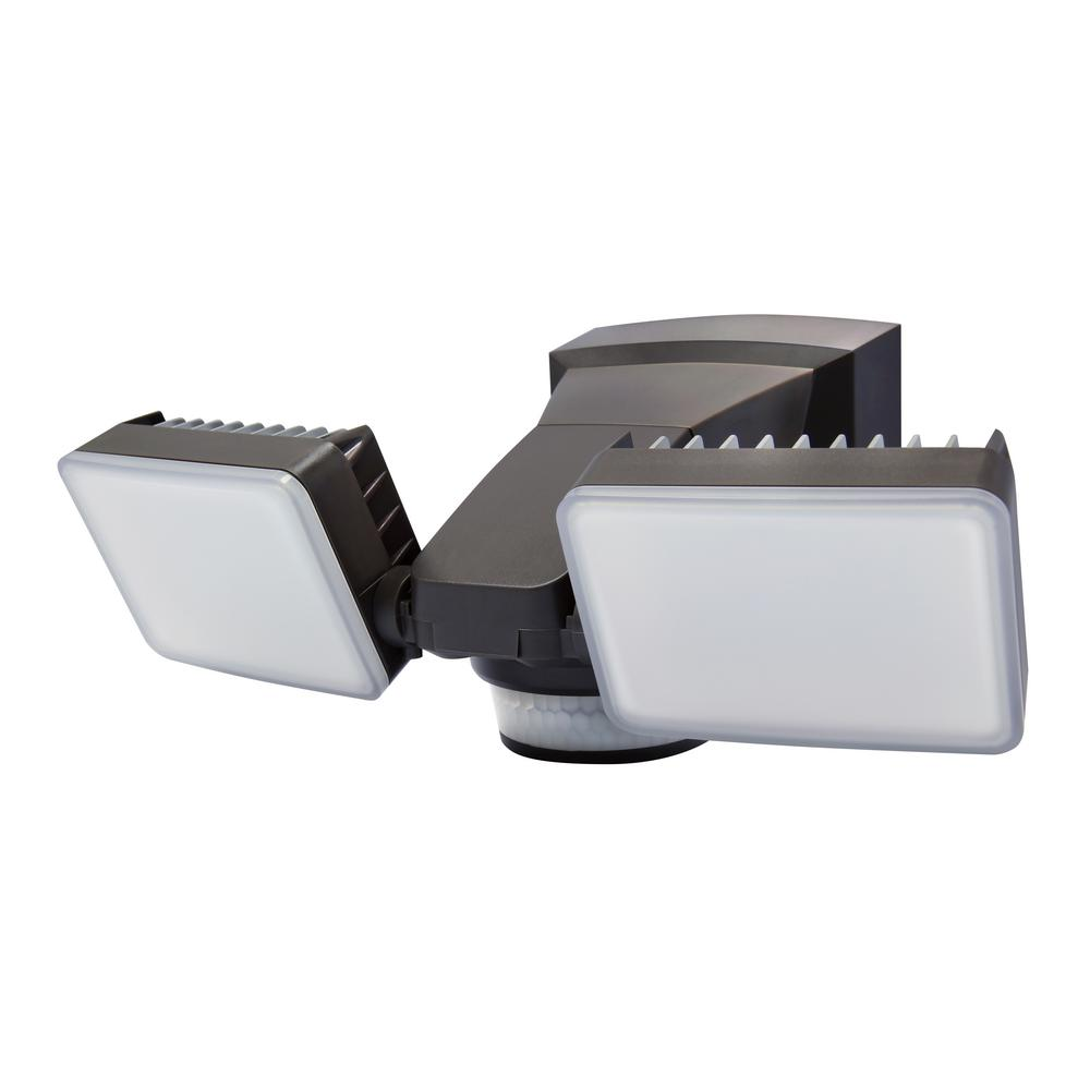240-Degree Bronze Motion Activated Outdoor Integrated LED Twin Flood Lights with