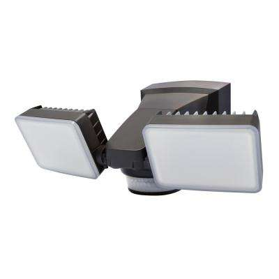 240-Degree Bronze Motion Activated Outdoor Integrated LED Twin Flood Lights with 2000 Lumens