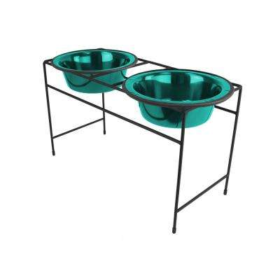 Platinum Pets Modern Double Diner Feeder with Stainless Steel Cat/Dog Bowls, Caribbean Teal