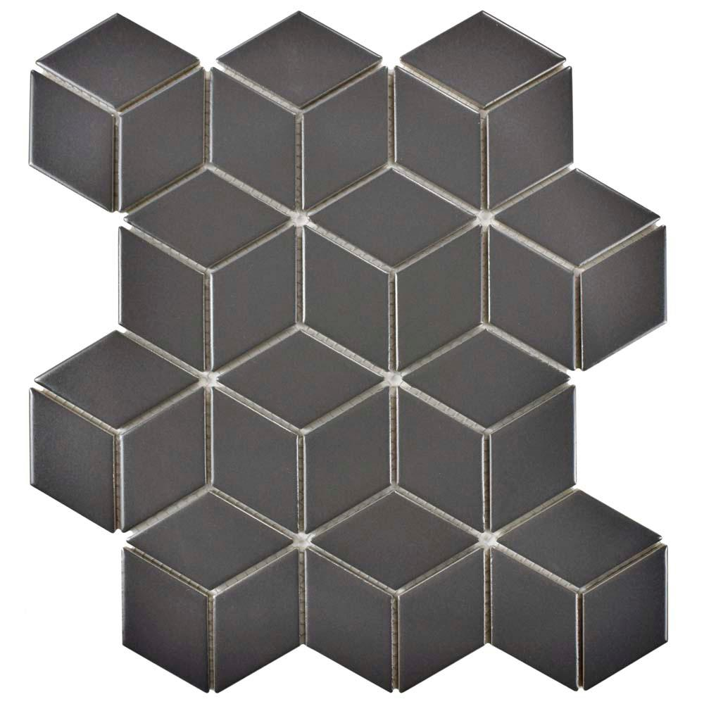Merola Tile Metro Rhombus Matte Grey 10-1/2 in. x 12-1/8 in. x 5 mm Porcelain Mosaic Tile (9.04 sq. ft. / case)