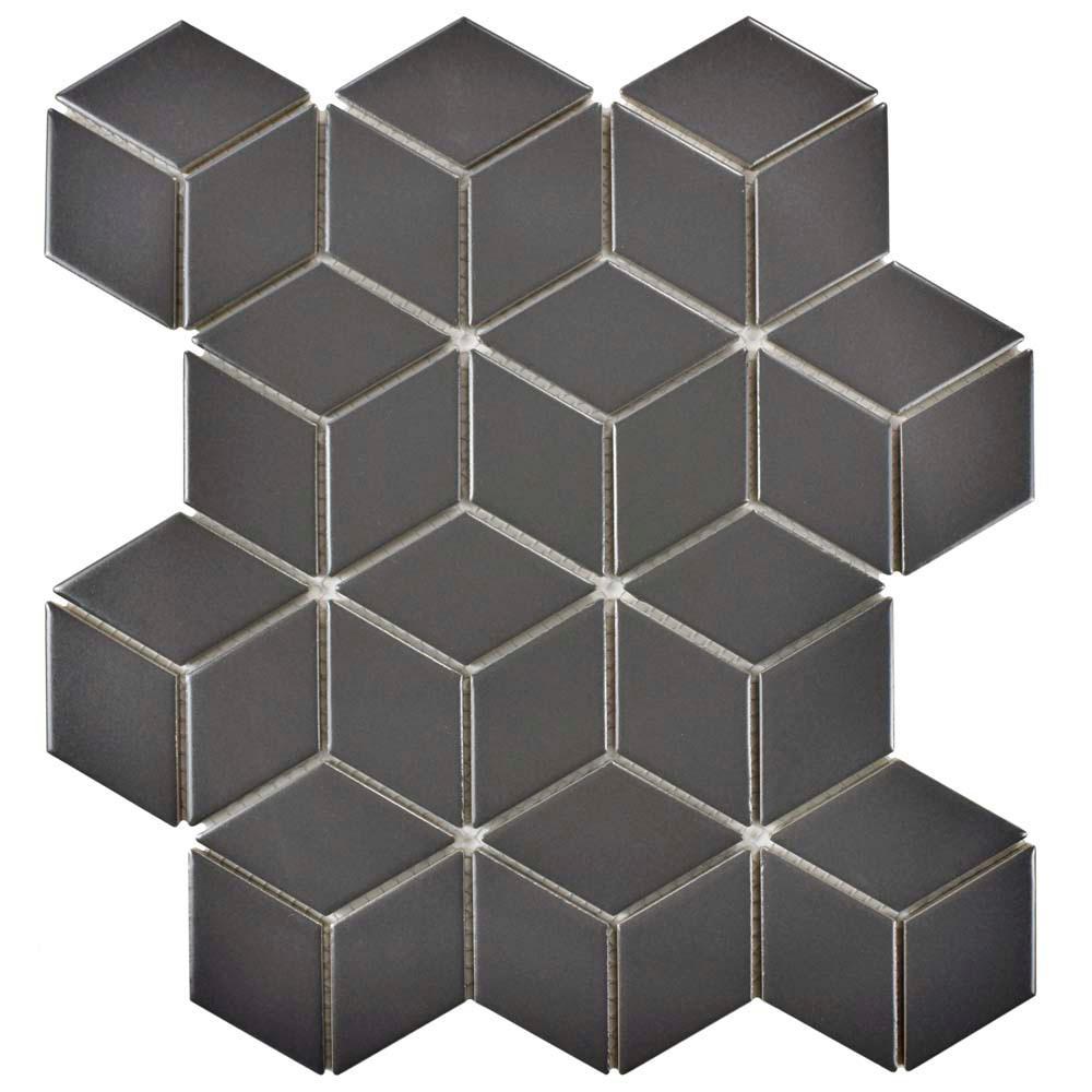 Metro Rhombus Matte Grey 10-1/2 in. x 12-1/8 in. x 5 mm Porcelain Mosaic Tile