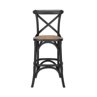 Mavery Black Wood Counter Stool with Woven Seat and Cross Back (18 in. W x 40 in. H)