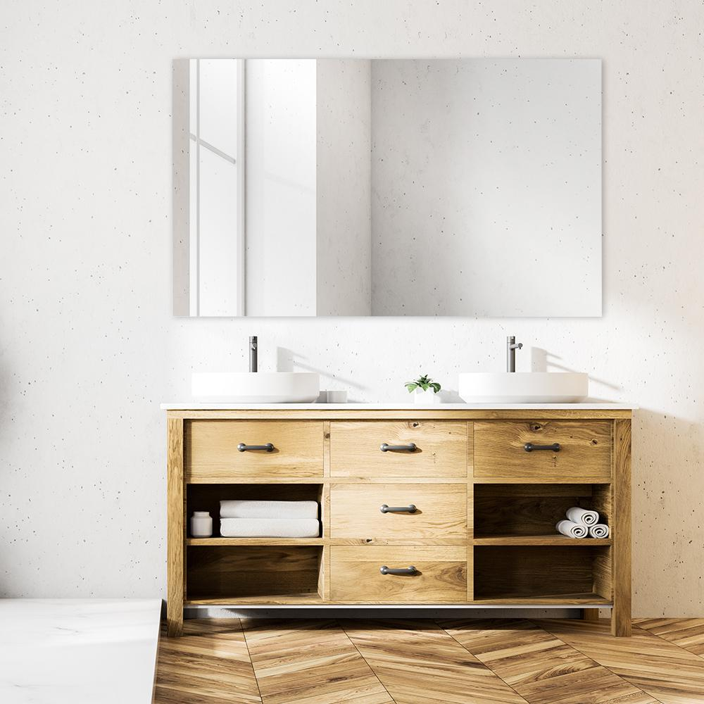4X Frameless Unframed Bathroom Mirror Glass Wall Hanging Fixing Kit Clips Chrome