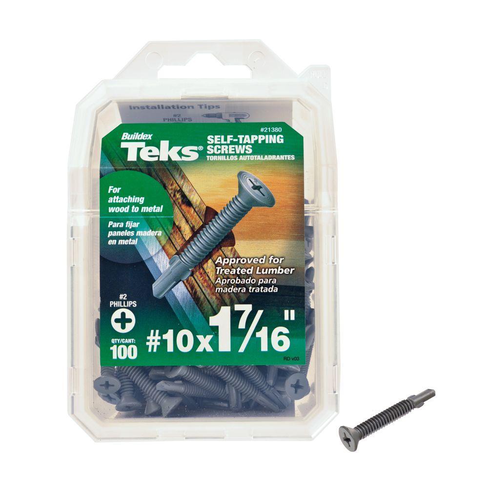 Teks #10 1-7/16 in. Phillips Flat-Head Self-Drilling Screws (100-Pack)