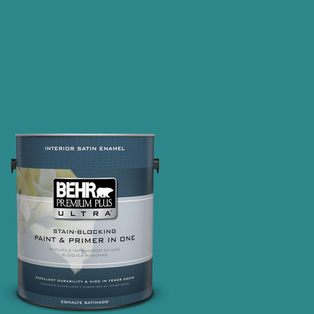 BEHR Premium Plus Ultra 1-gal. #M460-6 Thai Teal Satin Enamel Interior Paint