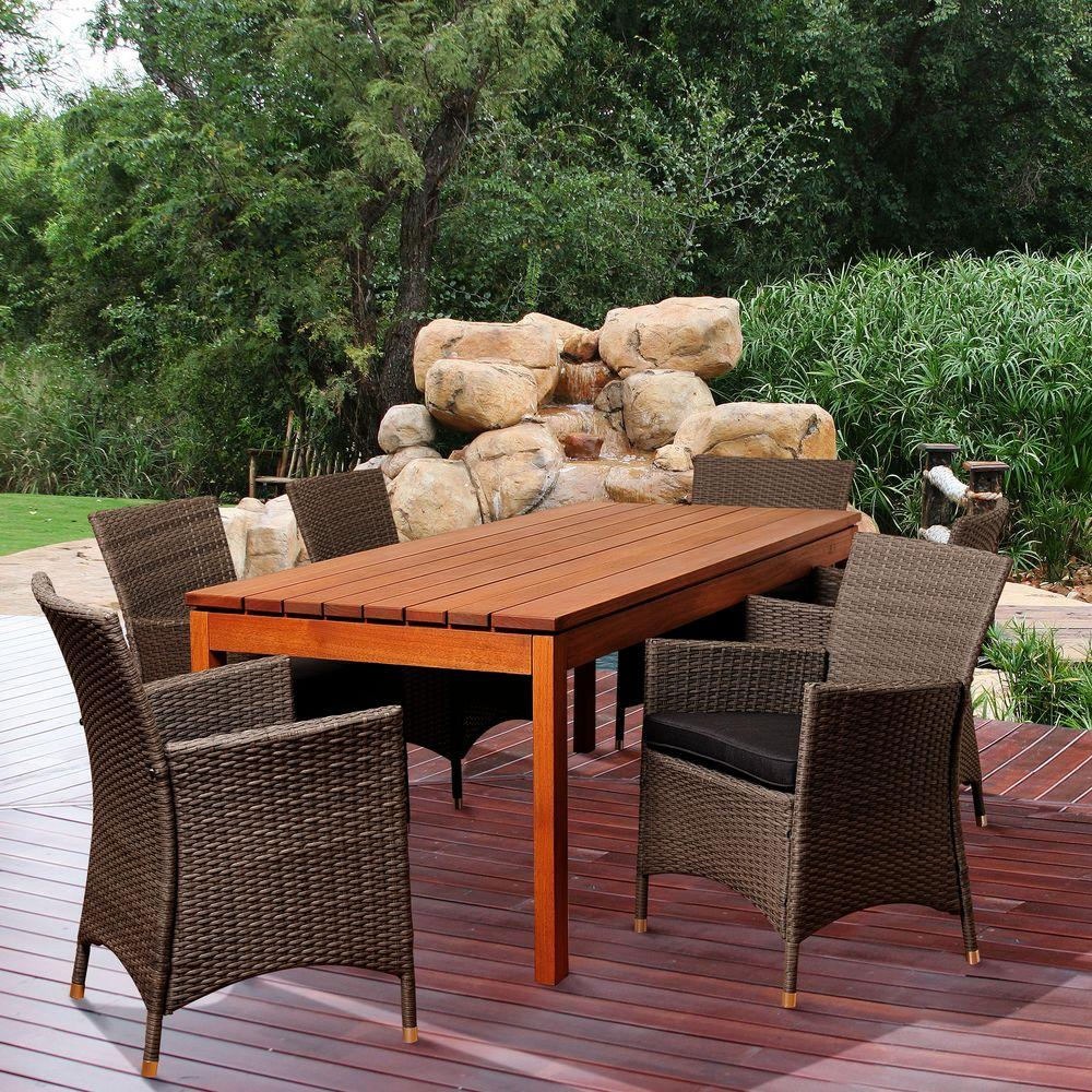 Amazonia Garibaldi 7-Piece Eucalyptus Rectangular Patio Dining Set with Grey Cushions