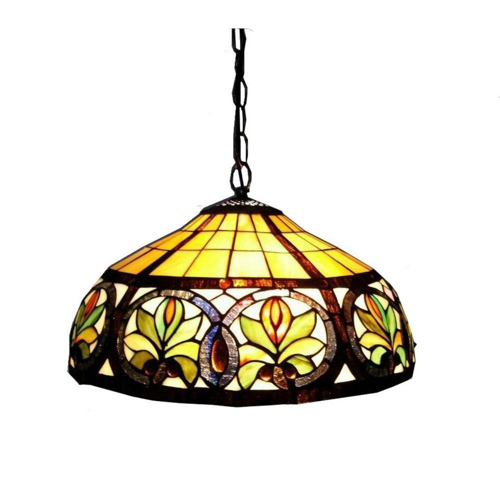 Warehouse of Tiffany 2-Light Antique Bronze Hanging Pendant with Classic Stained Glass