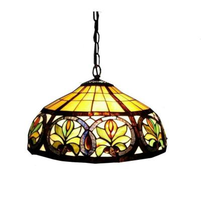 2-Light Antique Bronze Hanging Pendant with Classic Stained Glass