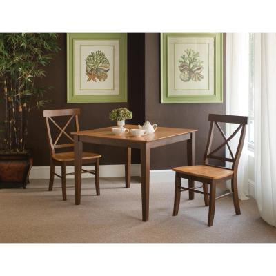 Skylar 3-Piece 36 in. Cinnamon/Espresso Square Wood Dining Set with X-Back Chairs