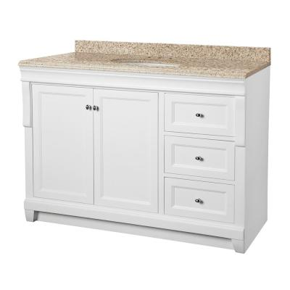 Naples 49 in. W x 22 in. D Vanity in White with Granite Vanity Top in Beige with White Sink