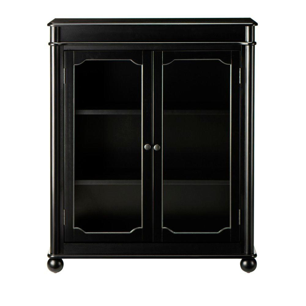 Home Decorators Collection Essex 39 in. H Black 3-Shelf Bookcase with Glass Doors