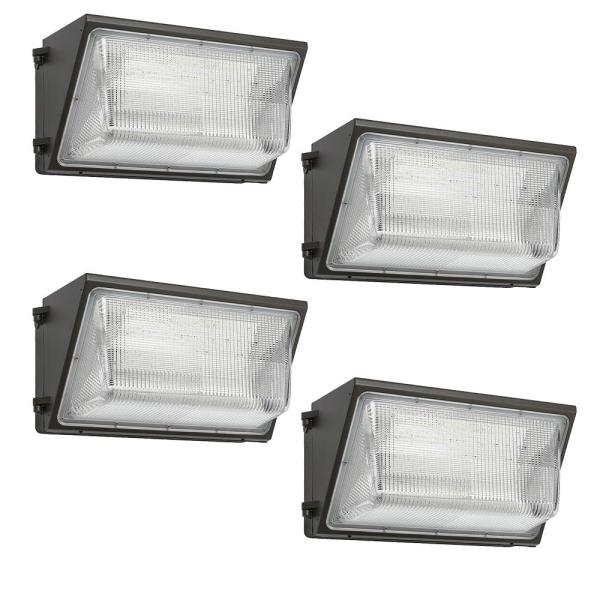18 in. 400-Watt Equivalent Integrated LED Bronze Outdoor Wall Pack Light, 5000K Photocell Option 10,000 Lumens (4-Pack)