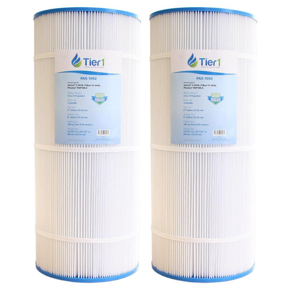 100 sq. ft Pool Filter Cartridge Replacement for Pleatco PAP100-4 Unicel C-9410 Filbur FC-0686 R173215 59054200 (2-Pack)