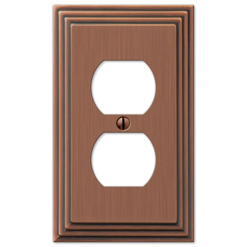 Hampton Bay Tiered 1 Duplex Outlet Plate - Antique Copper Cast