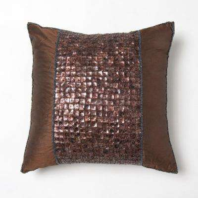 Faux Silk Mother of Pearl Dark Chocolate Pillow