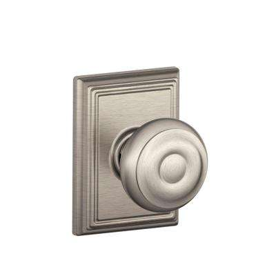 Georgian Satin Nickel Passage Hall/Closet Door Knob with Addison Trim