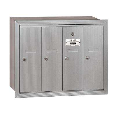 3500 Series Aluminum Recessed-Mounted Private Vertical Mailbox with 4 Doors