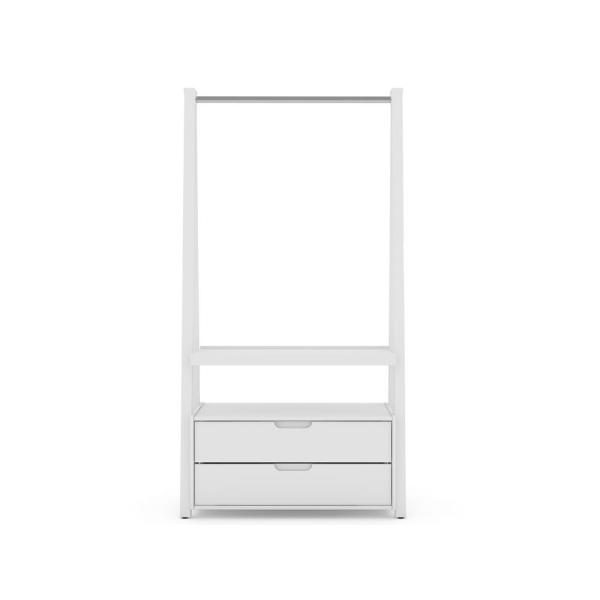 Luxor 2-Drawer White Mid-Century Modern Open Wardrobe Armoire Closet 105HD1