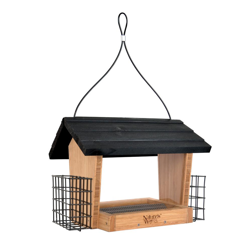 6 qt. Bamboo Hopper Bird Feeder with Suet