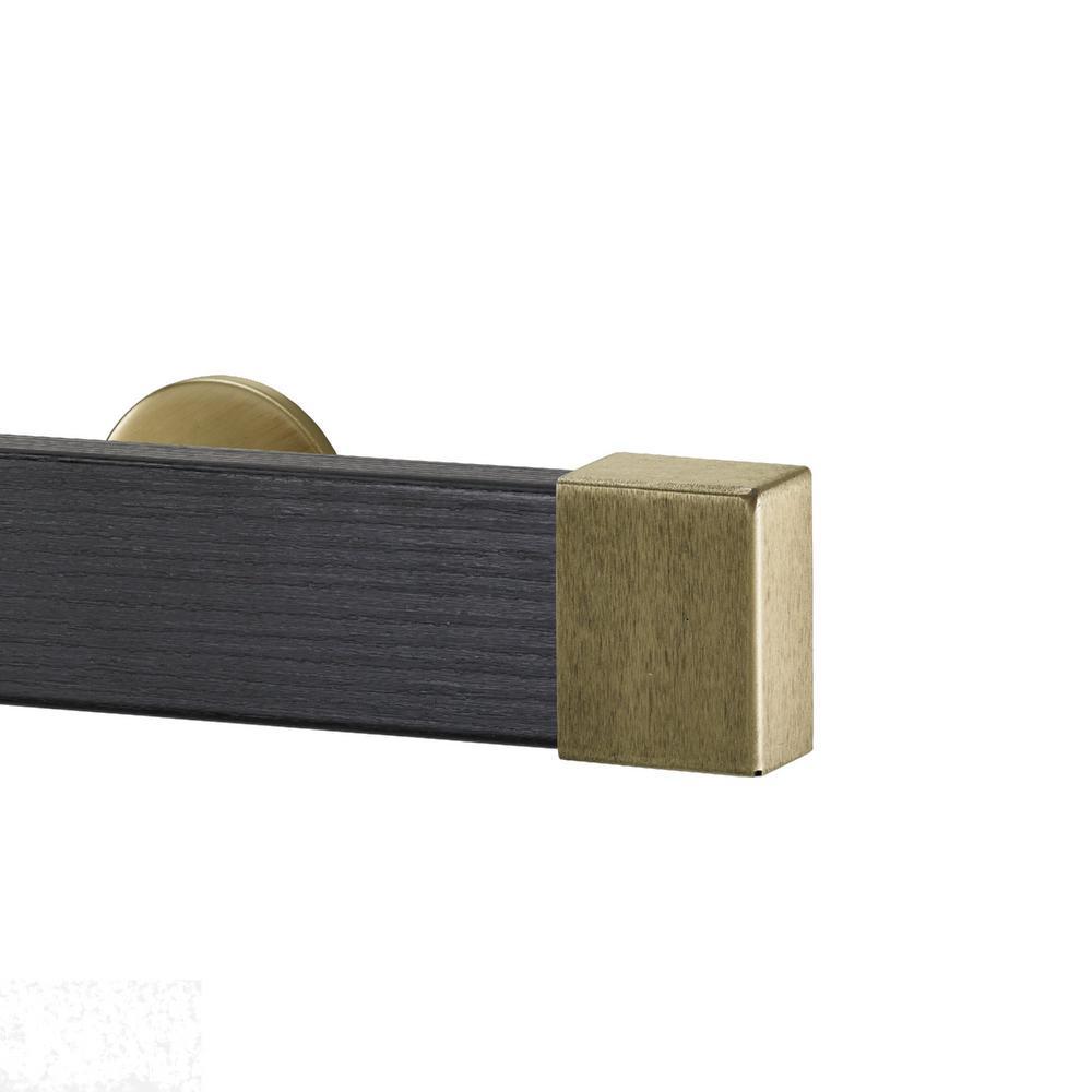 Kontur Wood 72 in. Single Traverse Rod Set in Ebony with Endcap in Antique