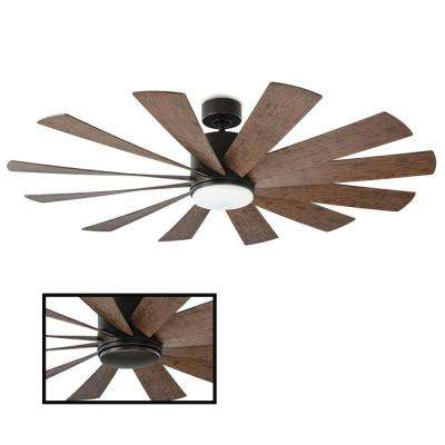 Windflower 60 in. LED Indoor/Outdoor Oil Rubbed Bronze 12-Blade Smart Ceiling Fan with 3500K Light Kit and Wall Control