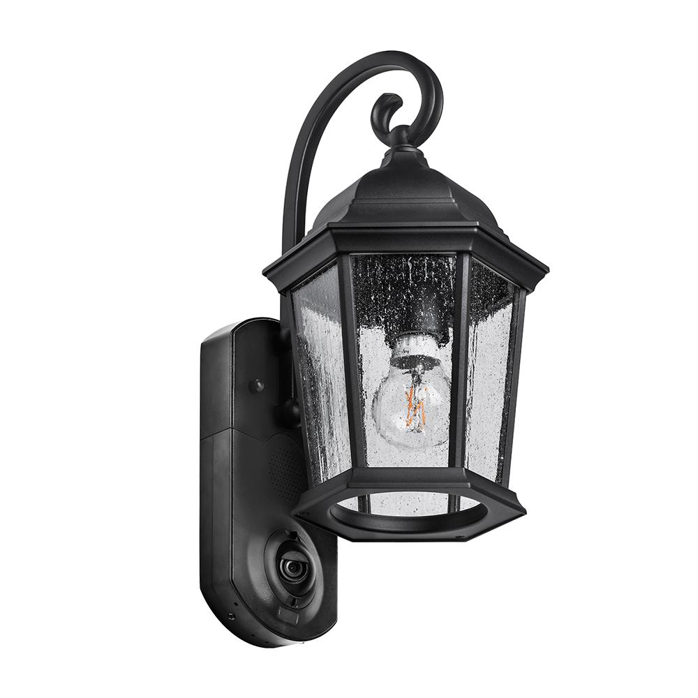 Maximus Coach Smart Security Textured Black Metal and Glass Outdoor Wall Lantern