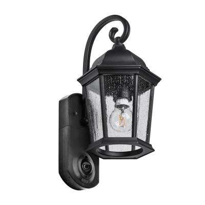 Coach Smart Security Textured Black Metal and Glass Outdoor Wall Lantern