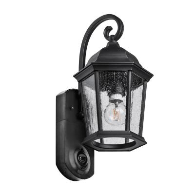 Coach Smart Security Textured Black Metal and Glass Outdoor Wall Lantern Sconce