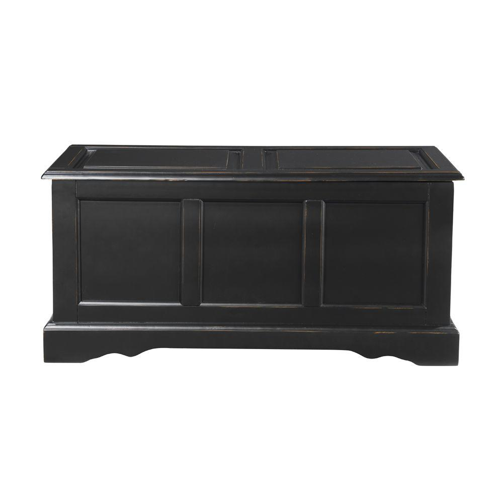 Home Decorators Collection Cameron Antique Black Bench with Blanket Chest