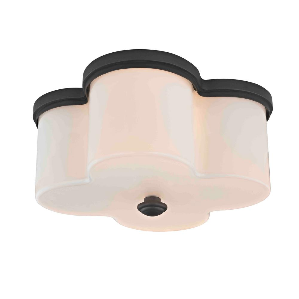 Clover 2-Light Old Bronze Flushmount with Opal Glass Shade