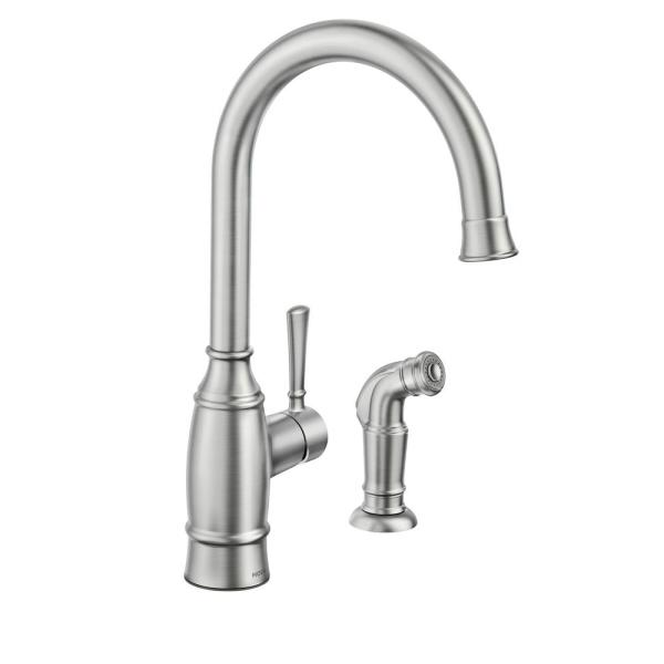 Moen Noell Single Handle Standard Kitchen Faucet With Side Sprayer In Spot Resist Stainless 87506srs The Home Depot