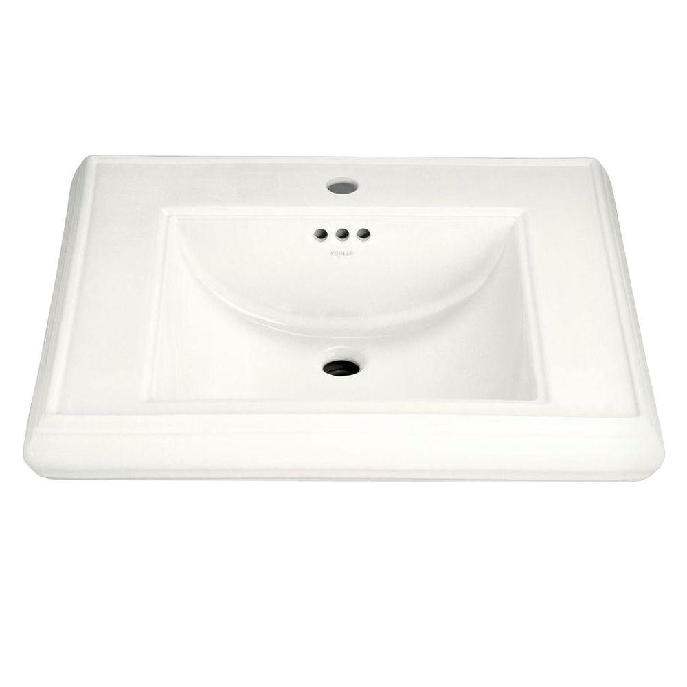 Memoirs 5-3/8 in. Ceramic Pedestal Sink Basin in White with Overflow