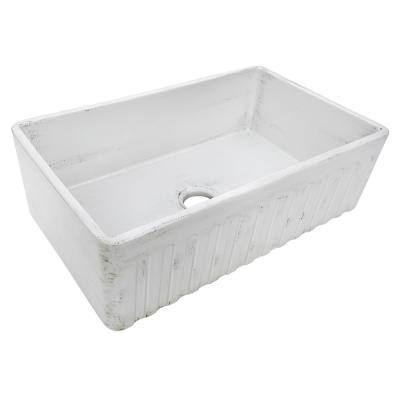 33 in. Single Bowl Farmhouse Apron-Front Kitchen Sink in Distressed White