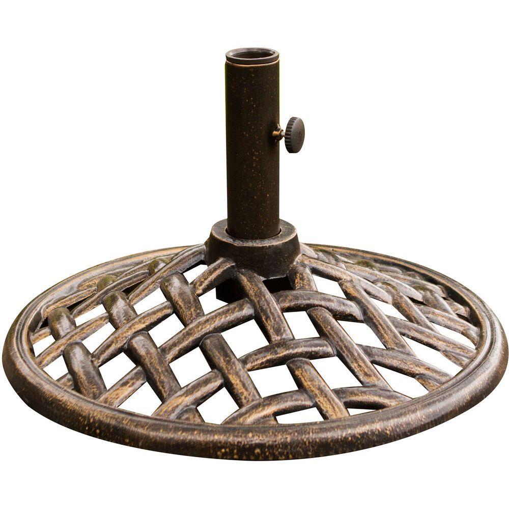 iron umbrella base in bronze