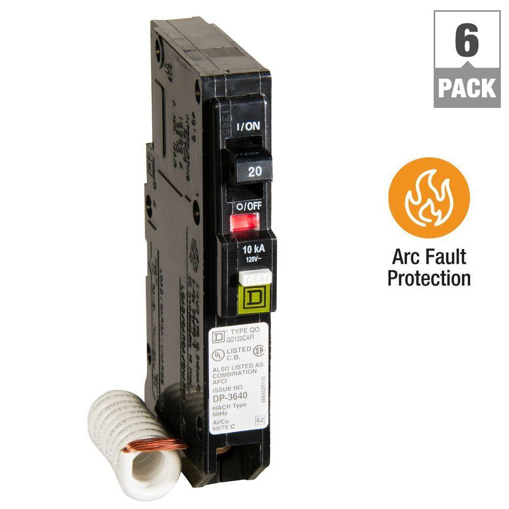 Square D QO 20 Amp Single-Pole Combination Arc Fault Circuit Breaker ...