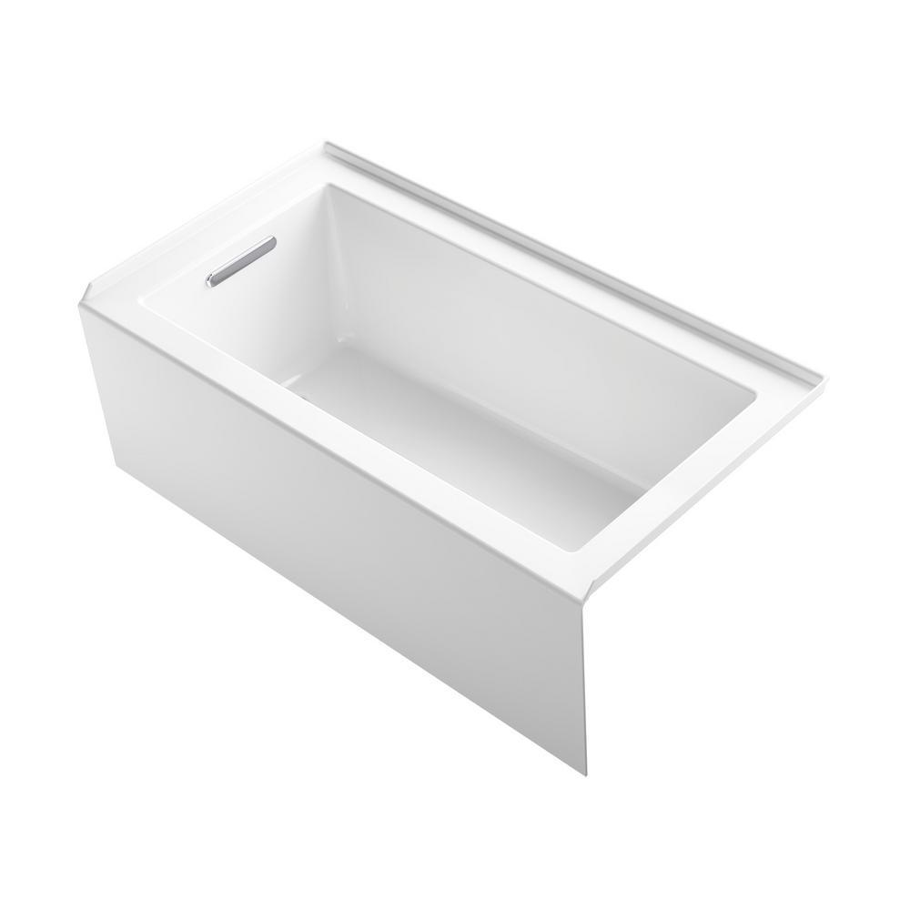 Underscore 60 in. Left-Hand Drain Rectangular Alcove Bathtub in White