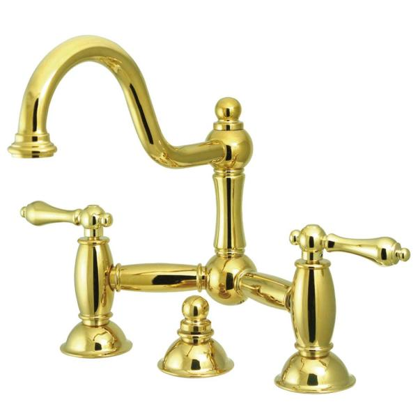 Restoration Bridge 8-in. Widespread 2-Handle Bathroom Faucet in Polished Brass