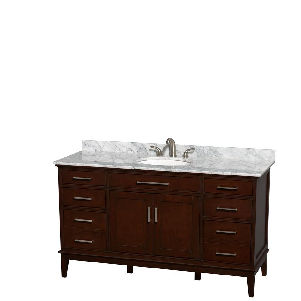 Wyndham Collection Hatton 60 in. Vanity in Dark Chestnut with Marble Vanity Top in Carrara White and Oval Sink