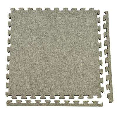Royal Carpet Light Gray Velour Plush 2 ft. x 2 ft. x 5/8 in. Interlocking Carpet Tile 96.875 sq. ft. (25 Tiles/Case)