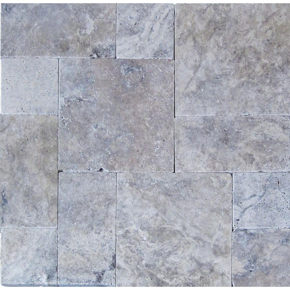 Silver Pattern 16 in. x 24 in. Tumbled Travertine Paver Kit