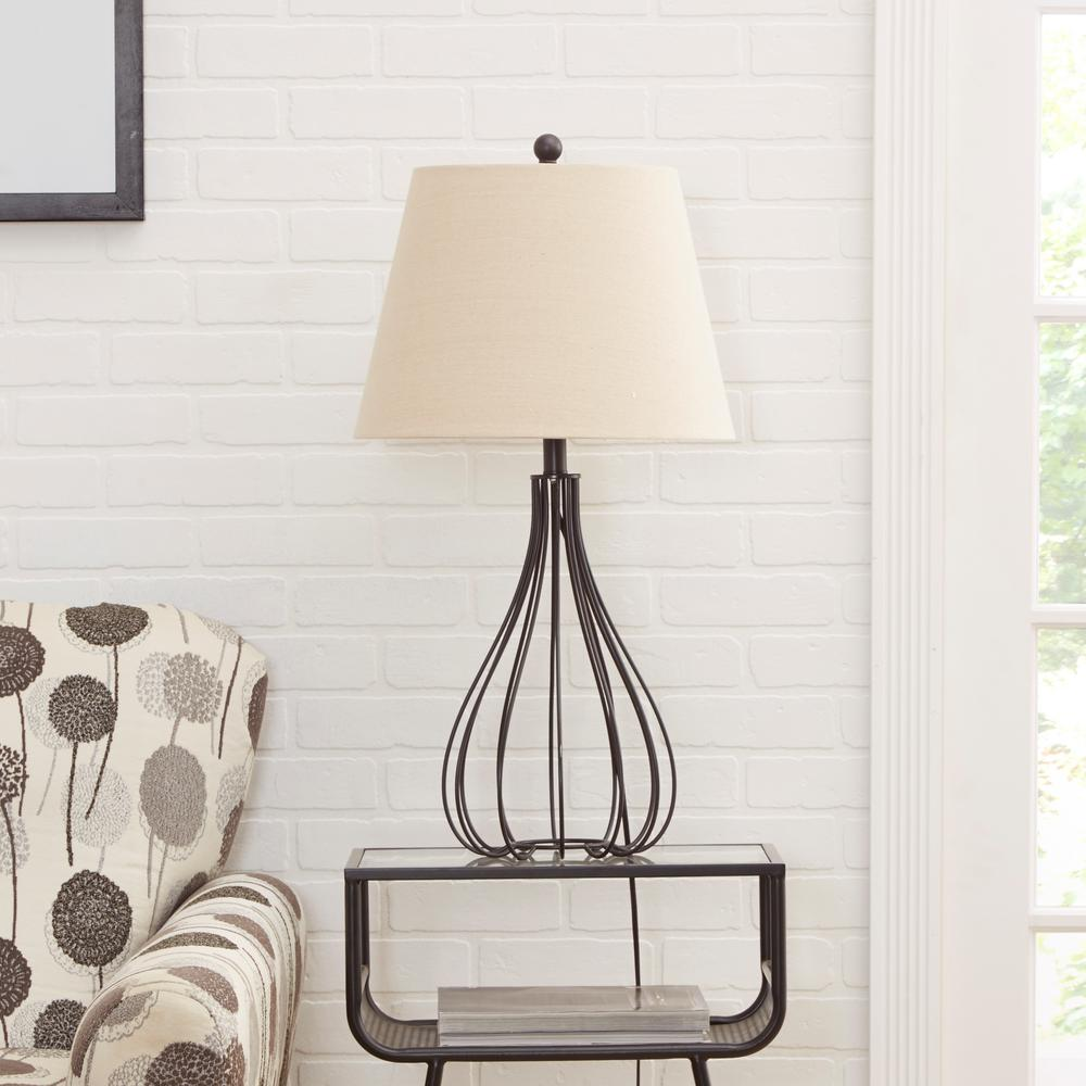 Silverwood Furniture Reimagined Remi Metal Wire Open Framed Gourd 30 in.  Black Table Lamp with Shade