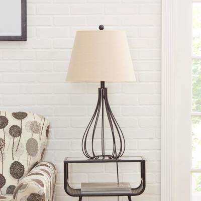 Remi Metal Wire Open Framed Gourd 30 in. Black Table Lamp with Shade