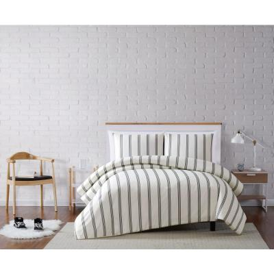 Millenial StripeWhite Full/Queen 3-Piece Duvet Cover Set