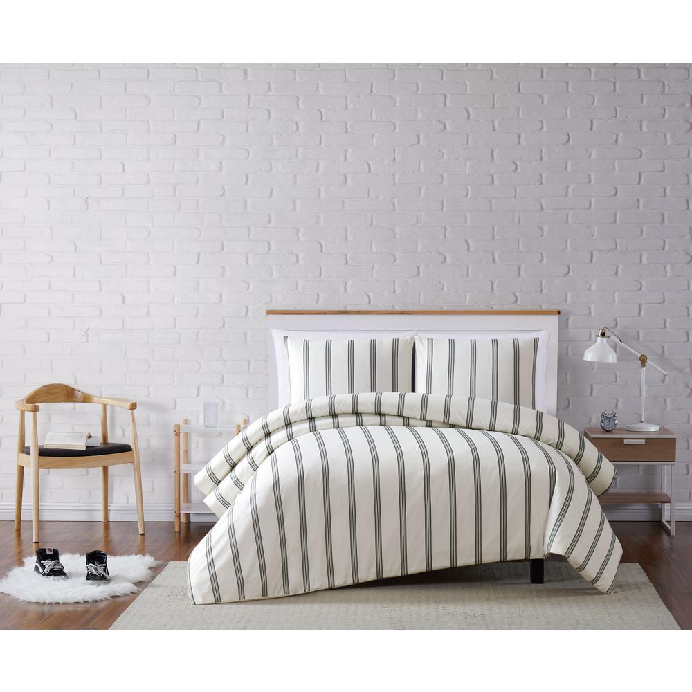 Truly Soft Millenial Stripe White King 3-Piece Duvet Cover Set